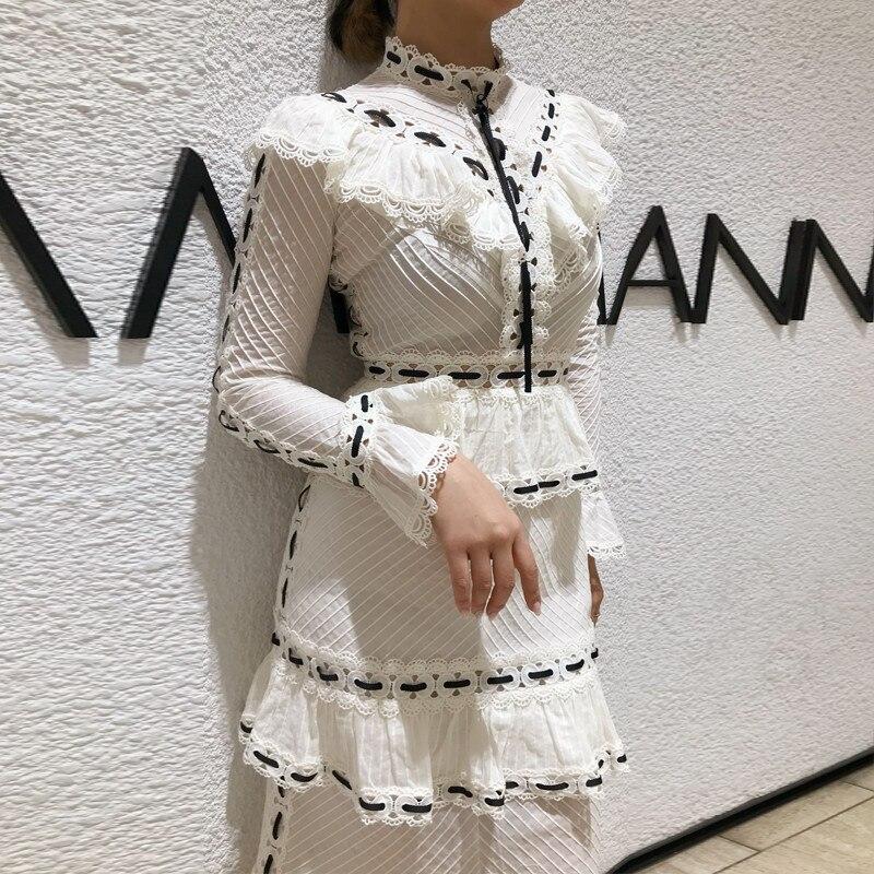 2019 ใหม่มาถึง bodycon สีขาวผู้หญิง flare sleeve elegant party dress-ใน ชุดเดรส จาก เสื้อผ้าสตรี บน   1