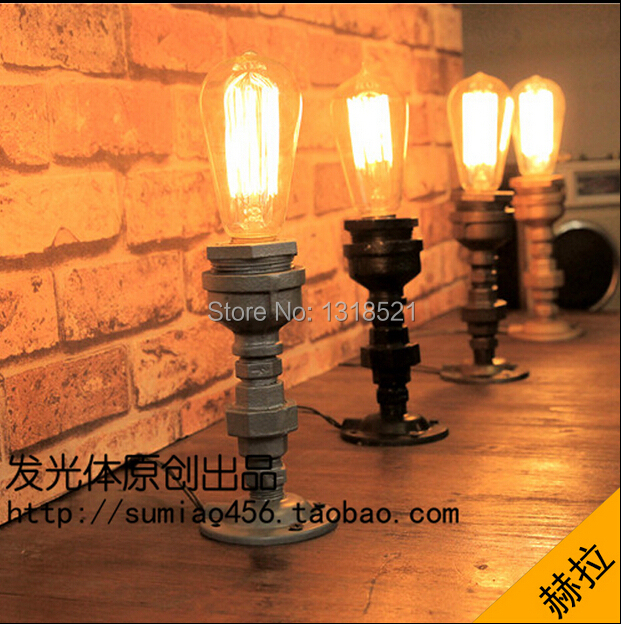 купить Edison Lamp Bulb Vintage Table Lamps Personalized Water Pipe Table Lights Desk Book Lamp E27 60W 110V-240V Loft Vintage Lighting по цене 2175.92 рублей