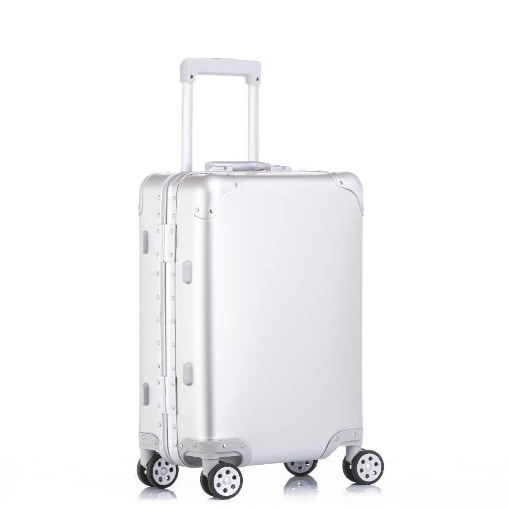 Чистый металл полный алюминиевый сплав магния чемодан для обувь для мужчин  и женщин 20 24 b2d8b37f8f1