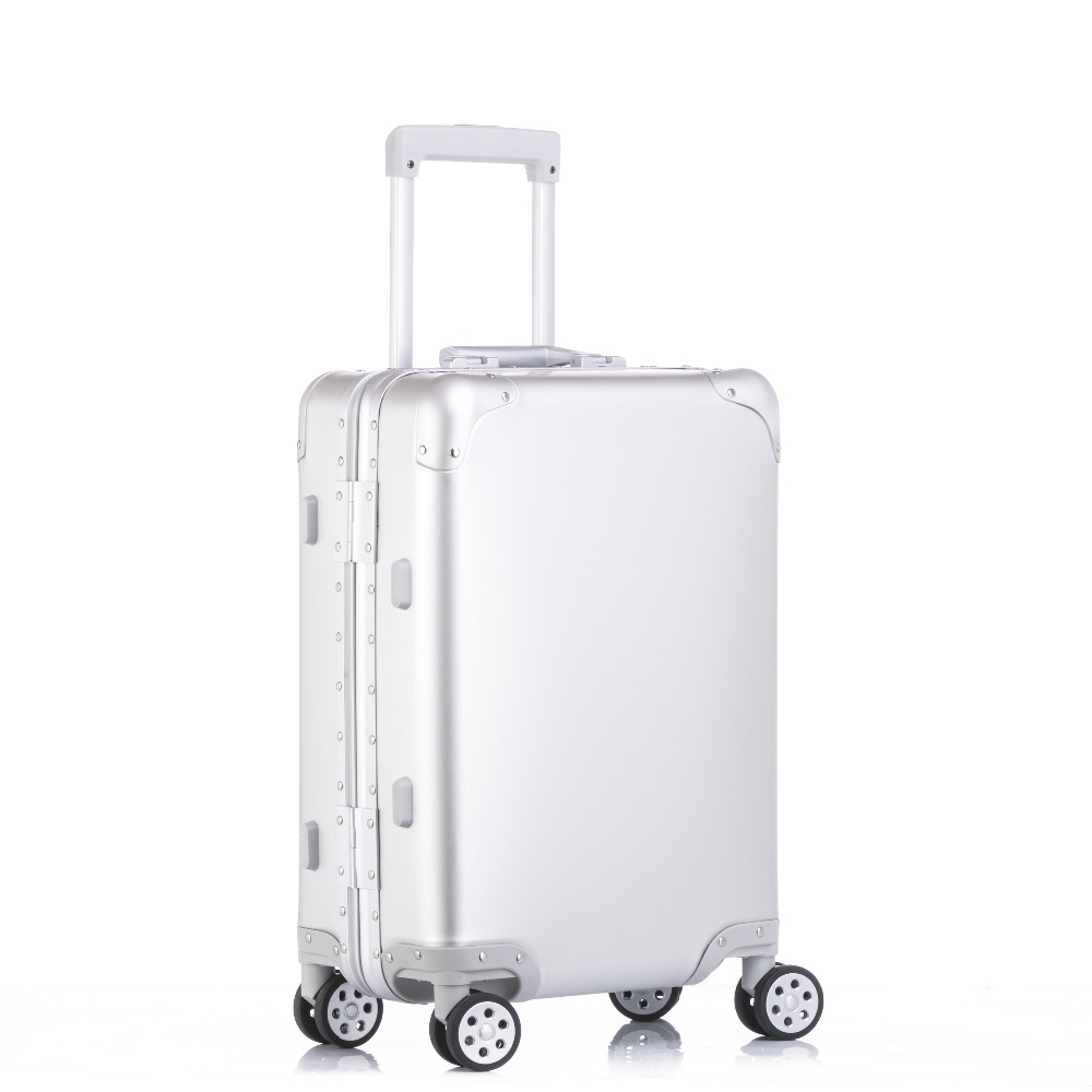 Pur métal plein de magnésium en alliage d'aluminium valise pour hommes et femmes 20/24/29 pouce chariot cas d'embarquement bagages voyage valise