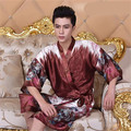 Men Japanese Kimono Lacing Robe Bathrobe Satin Long Summer Nightgown Print Half Sleeve Silk Pajamas Smooth Free Size Resilient