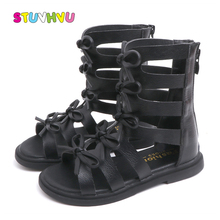 Summer New Roman Sandals Girls Beach Shoes Non-slip Leather Bow Princess Childrens for Black White