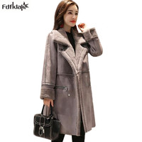Fdfklak Women's Winter Coat Thick Warm Cashmere Woolen Coat Female Turn down Collar Long Winter Jacket Women Wool Jackets