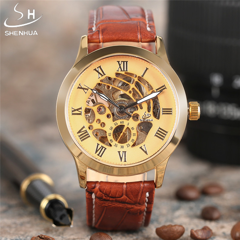 Fashionable Brand SHENHUA Automatic Mechanical Watch Mens Watches Gold Skeleton Hollow Business Dress Leather Wristwatches 2017 luxury brand shenhua steampunk transparent skeleton crystal flywheel automatic genuine leather strap dress mens mechanical watch