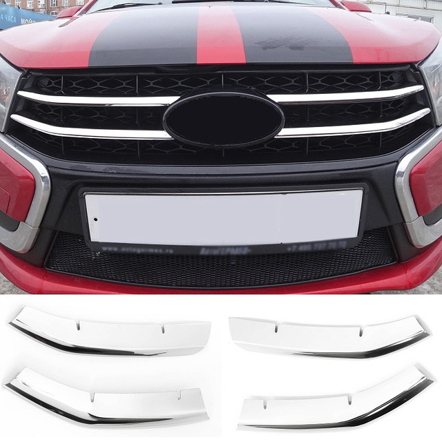4pcs stainless steel front bumper grille decoration molding cover decorative trims for Lada Vesta sedan universal SW Cross