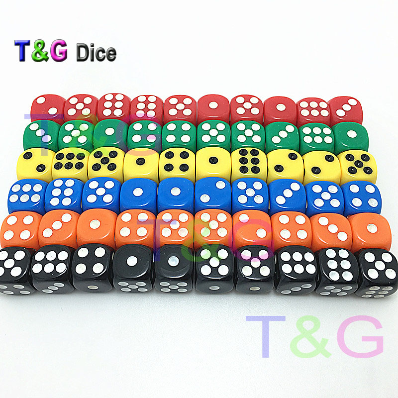 6 Colors 12*12*12mm Plastic Poker Cubes For Gambling Dices Red,blue,orange,yellow,transparent Red/blue 10pcs/set D6 Dice
