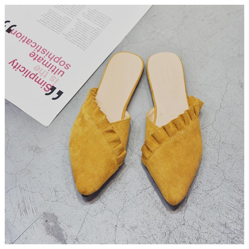 3575cad5eafad5 SUOJIALUN Women Slippers Flat Women Shoes Slip On Flat Mules Fashion ...