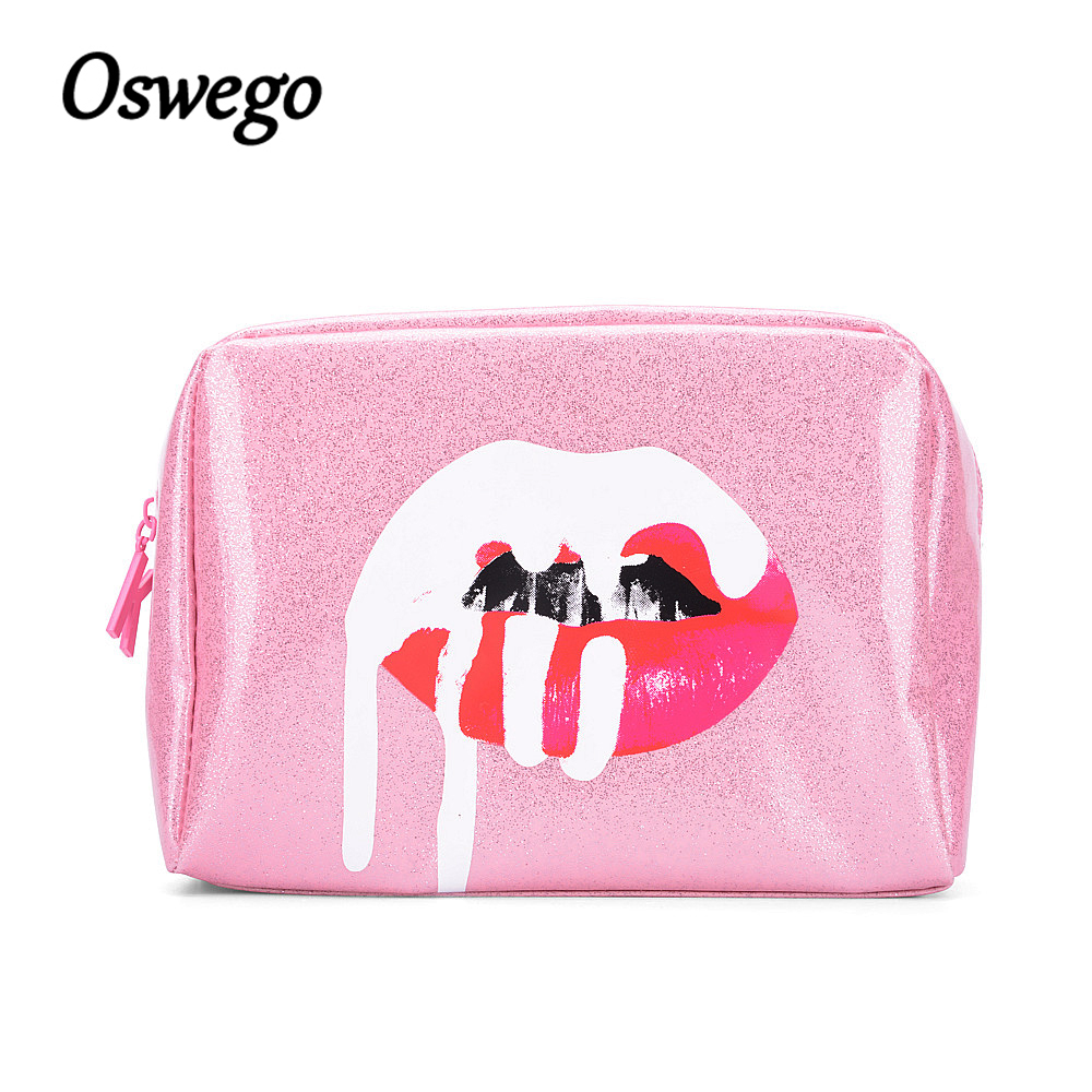 Oswego Pink Glitter Lip Cosmetic Bag Designer Brand Pouch MakeUp Bag Waterproof for Travel Storage Organizer Birthday Collection oswego brand bling sequins cosmetic bag zipper bag portable fashion small makeup bag cosmetic cases organizer travel toilet kit