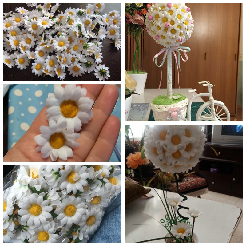 Hoomall 100pcs mini daisy decorative flower artificial silk hoomall 100pcs mini daisy decorative flower artificial silk flowers party wedding decoration home decorwithout stem in artificial dried flowers from junglespirit Choice Image