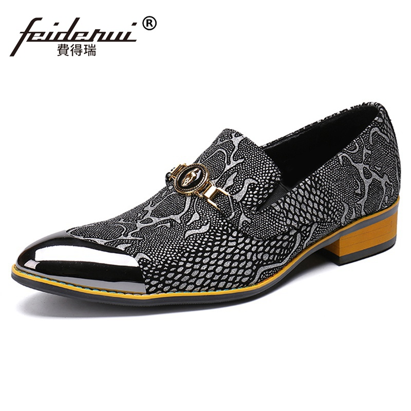 Plus Size Python Pattern Pointed Toe Man Formal Dress Wedding Loafers Genuine Leather Men s Banquet