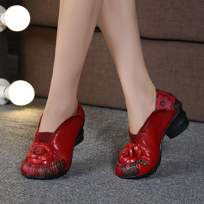 En De gris 2018 Fleurs rouge À Cuir Nouveau Vache Cm Femme Chaussures Mode Hauts Sort 5 Noir Talons Femmes Peau Automne Couleurs qpRWXRrw8