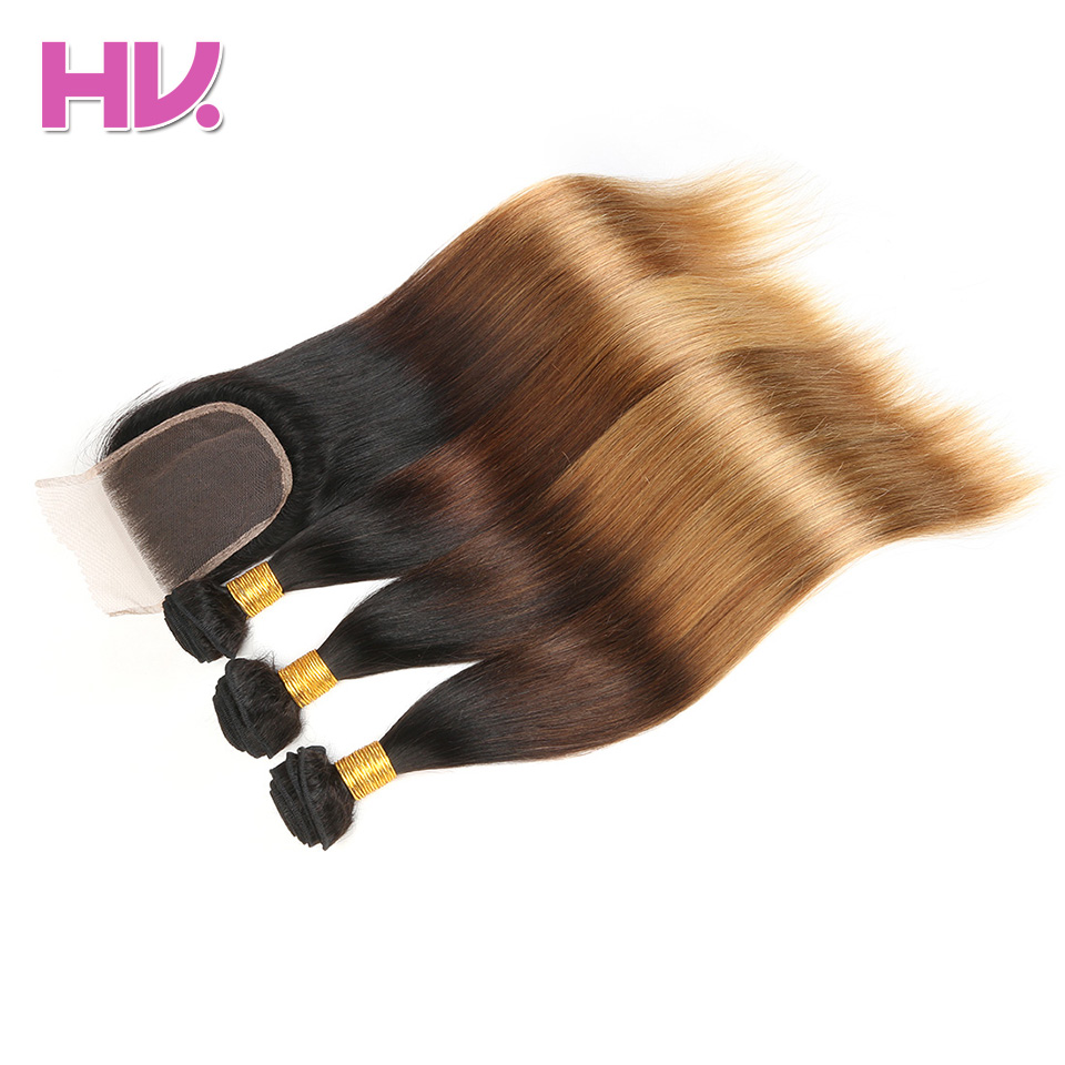Hair Villa Pre-Colored Ombre Brazilian Straight Hair With Closure #1b/4/27 4*4 Non-Remy Ombre Human Hair Weave Lace Closure