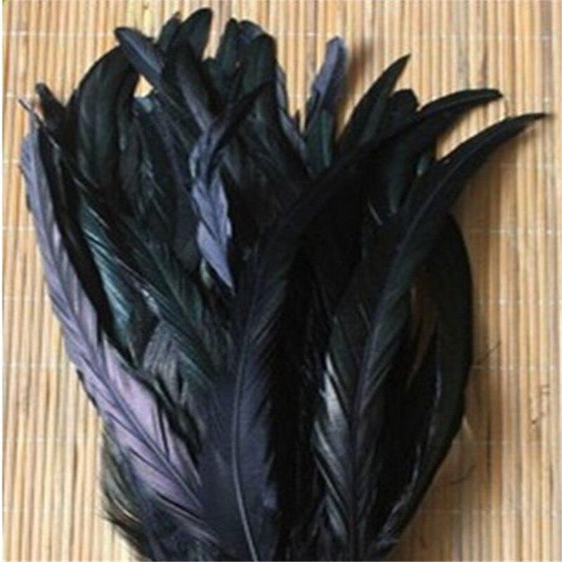 50 шт. DIY ювелирных Интимные аксессуары петух перья окрашенные черные волосы Hat Стадия украшения 25-30 см