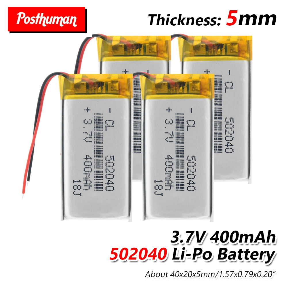 POSTHUMAN Rechargeable <font><b>3.7V</b></font> <font><b>400mAh</b></font> 502040 <font><b>Battery</b></font> Lithium Polymer <font><b>Battery</b></font> Li-Po li ion Lipo cells For MP3 MP4 GPS Recorder Pen image