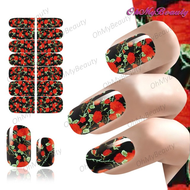 Beauty Nail Art Flower Sticker Decals Full Self Adhesive Foil Nails