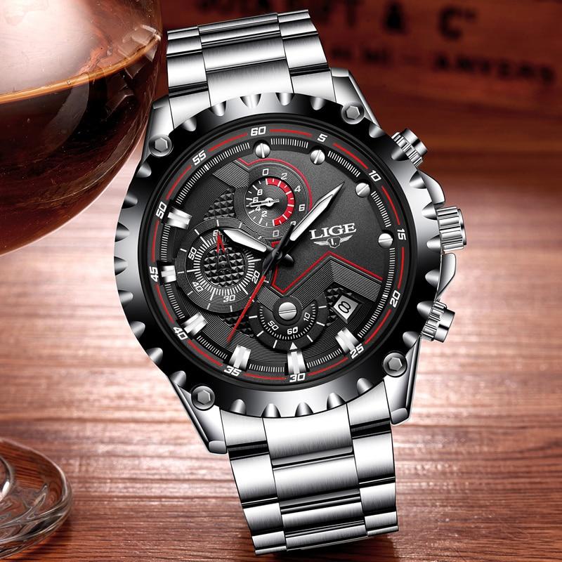 Image 2 - LIGE Brand Men's Fashion Watches Men Sport Waterproof Quartz Watch Man Full Steel Military Clock Wrist watches Relogio Masculino-in Quartz Watches from Watches