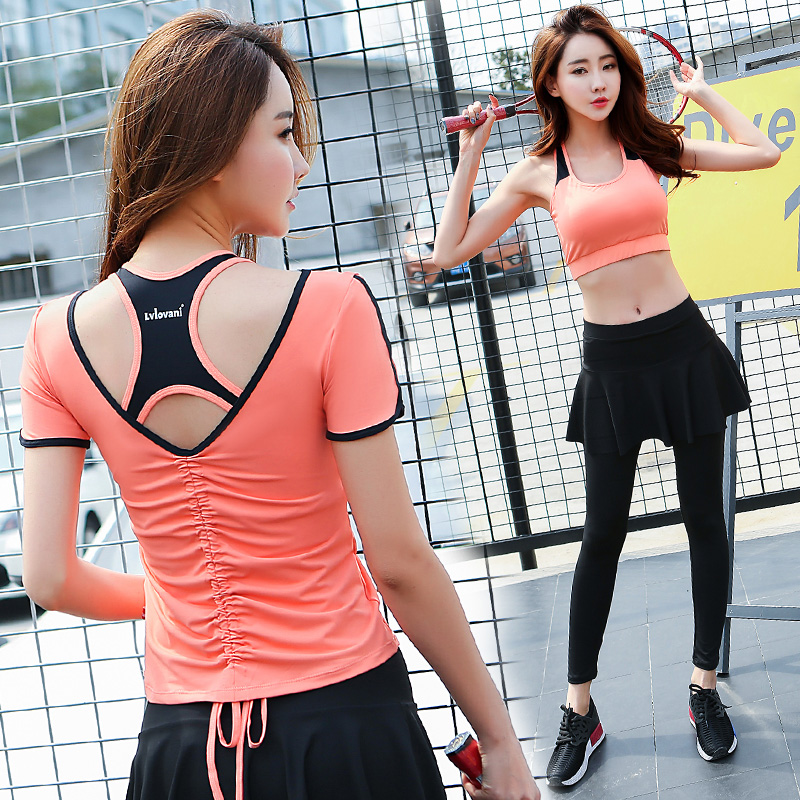 Summer Top Quality Fitness Women 3 Pieces Yoga Set Bra & Backless T-shirts & Pants with Skirt Gym Clothes Sport Wear Outdoor Jog 2018 new bright gym clothes colors solid and patchwork female summer yoga suit t shirt bra leggings 3 pieces yoga set for women