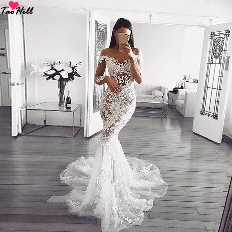 Mermaid Style Lace Wedding Gowns: TaoHill Ivory Lace Wedding Dress O Neck Long Sleeves