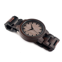 BOBO BIRD Men Watches Wood Strap Wristwatch Japan Movement 2035 Quartz Wood Watches as Gifts for