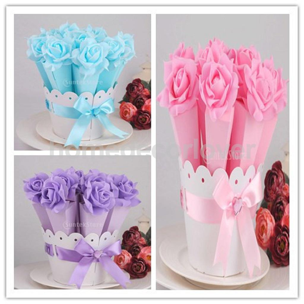 Luxury DIY Wedding Party Favor Favour Cone Rose Candy Gift Boxes ...
