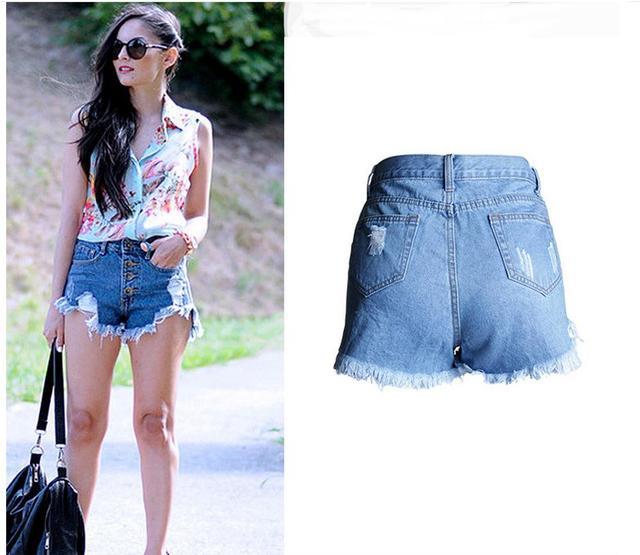 b98c55c28d Short Feminino Summer Tassel Ripped Female Jeans Shorts High Waist Hole Denim  Short Plus Size Skinny Stretch Jeans Mujer K335
