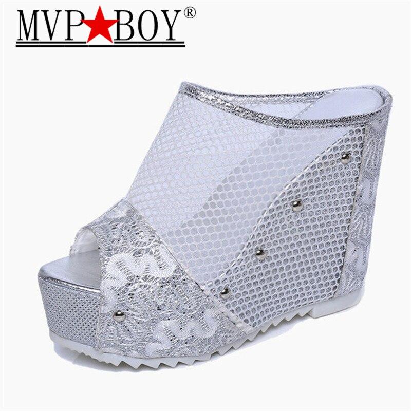 Mvp Boy Woman Peep Toe Sandals Womens Slides Sexy Lace Mesh Super High Platform Heels Summer Wedge Slippers Black Silver Gold