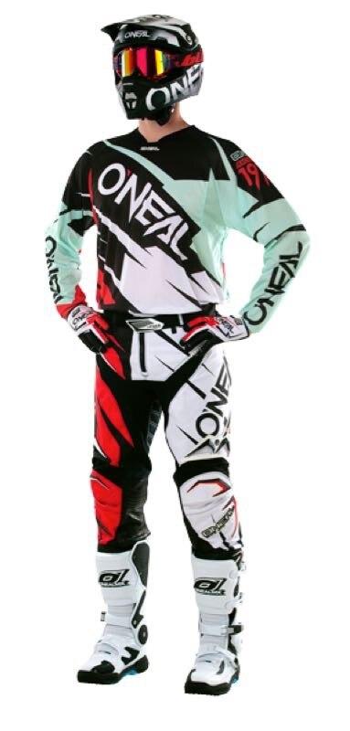 цена на Free shipping 2017 O'Neal Mint Green/Red/Black Mens Hardwear Flow Jag Dirt Bike Jersey & Pants Kit