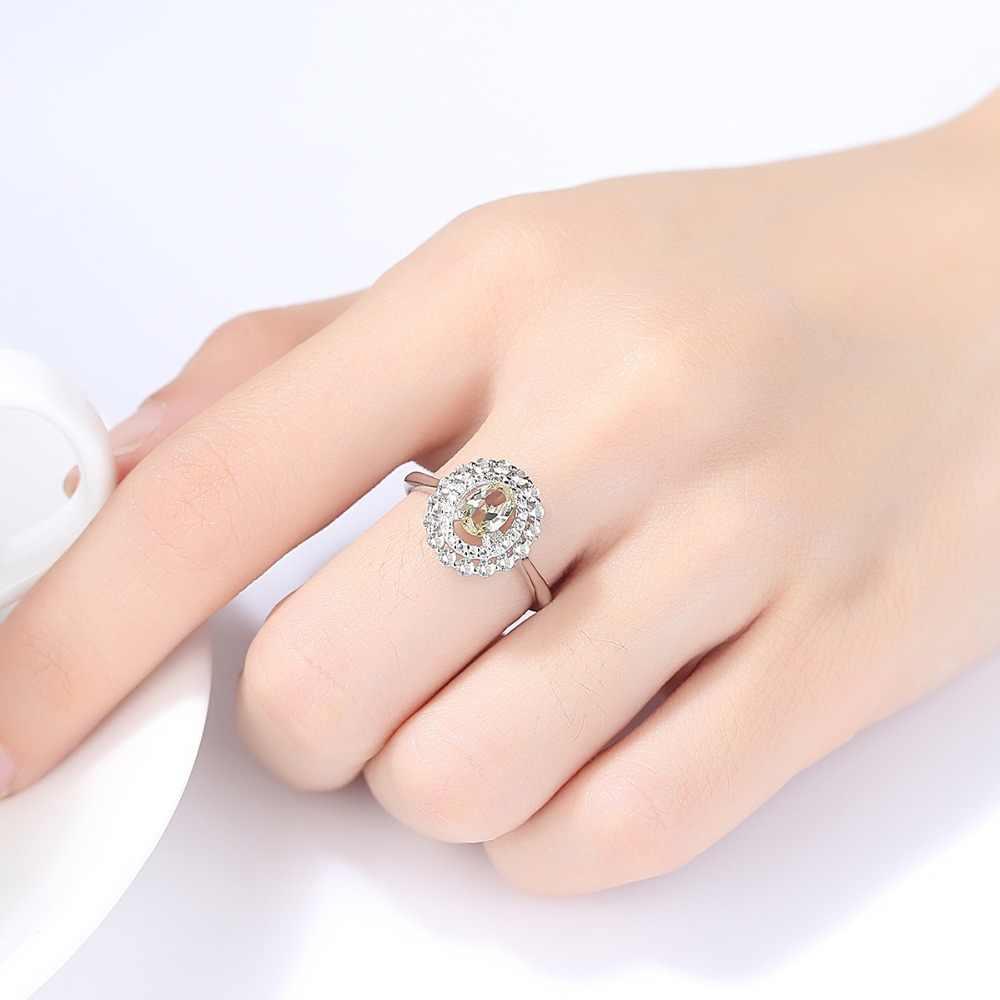 CZCITY ประณีตเงินแท้ 925 แหวนสำหรับผู้หญิงมะกอกสีเขียวหินรูปไข่แหวนหมั้น VINTAGE Fine