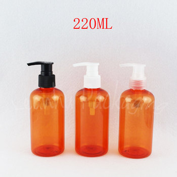 220ML Orange Plastic Bottle With Lotion Pump , 220CC Lotion / Shampoo Packaging Bottle , Empty Cosmetic Container