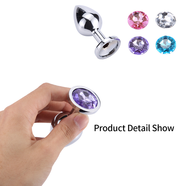 Intimate Metal Anal Plug with Crystal Jewelry Smooth Touch Butt Plug No Vibrator Anal Bead Anus Dilator Anal Toys for Men Women 2