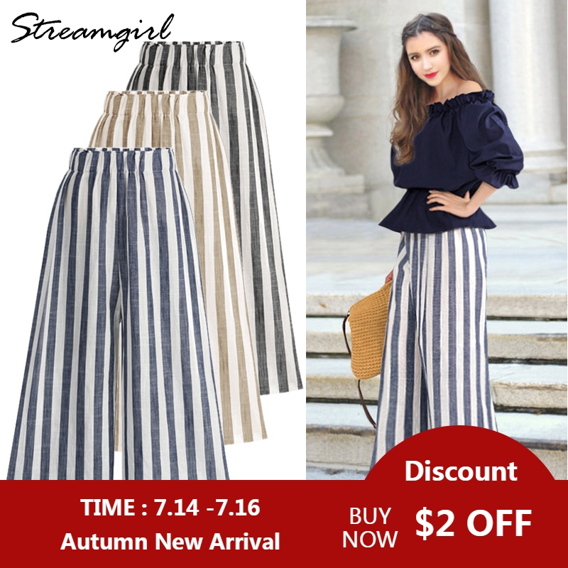 Summer High Waist Cotton Linen   Pants   With Stripes Women   Wide     Leg     Pants   Plus Size Women Linen Striped Trousers   Wide     Leg   Cotton