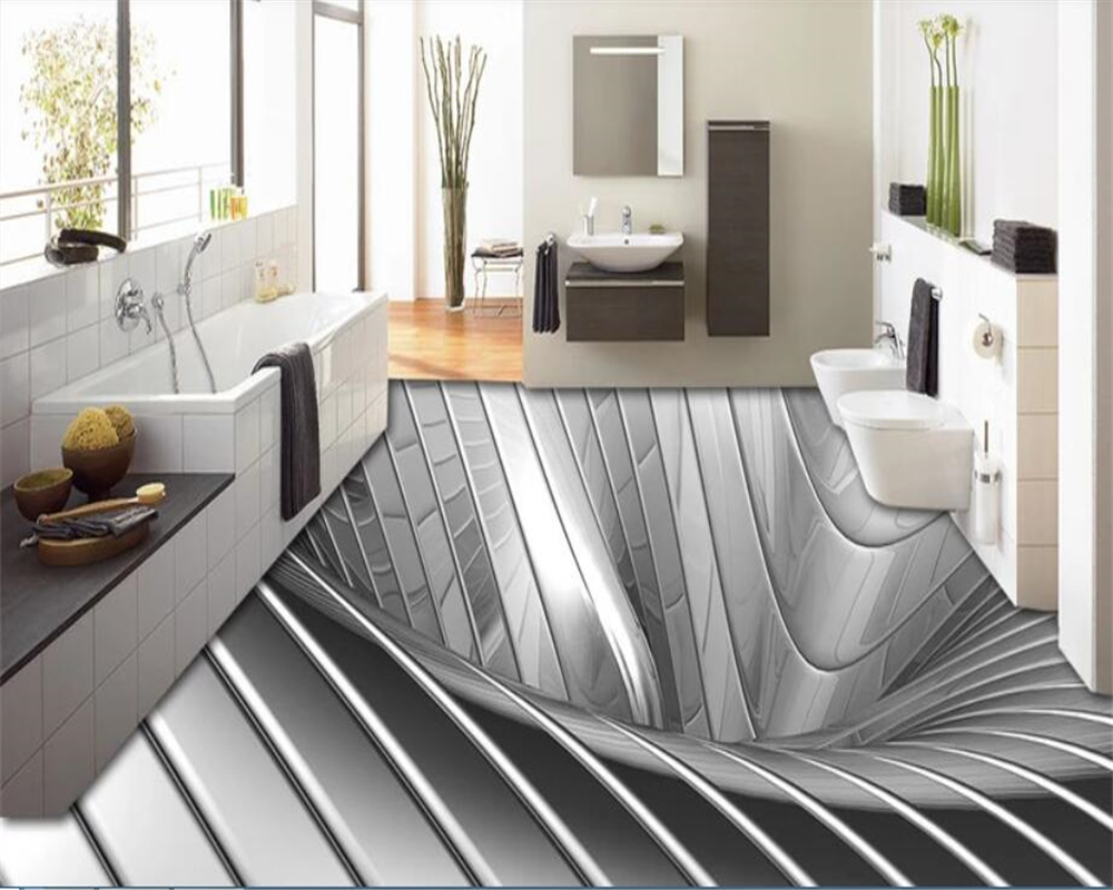 Beibehang 3d Beautiful Silver Metal Floor Tile Three-dimensional Painting Background Wall Wall Papers Home Decor Wallpape