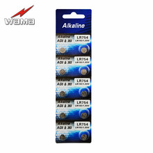 10pcs/lot Wama AG5 1.5V Alkaline Batteries LR48 L750 LR754 393 SR754 Button Coin Cell Battery Drop ship