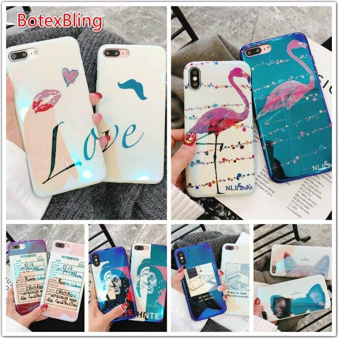 BotexBling carino flamingo coppia gatto personalità pagliaccio cassa del telefono per iphone X 7 7 più 6 6 s plus 6 più Blu-Ray della copertura Del Silicone