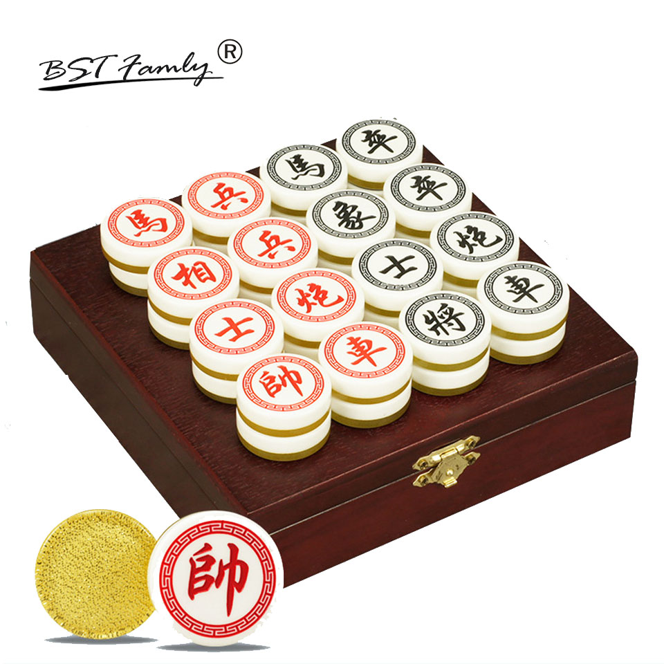 BSTFAMLY Chinois Échecs Xiang Qi boîte En Bois Acrylique Pièces Diamètre 35mm Pliage PVC conseil 32 pcs/ensemble Jeu de Puzzle Enfants cadeau C03