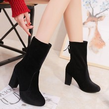 JAYCOSIN Women Ankle Boots shoes woman Heels Solid Flock Thick High Heel Black Zipper winter boots women botas mujer 715