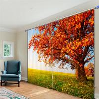 Maple Tree Bamboo Palm Trees Flowering Trees Room Darkening Drapes 3D Printed Window Decor Curtains for Bedroom or Living Room