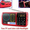 Sast n-519 rádio fm dois slot para cartão tf usb speaker mp3 player portátil função lanterna com bateria recarregável 18650 da bateria