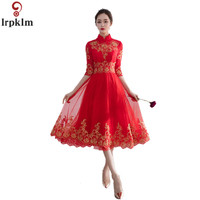 Bride Dress Chinese Traditional Red Wedding Gown Half Sleeve Long Cheongsam Dresses Embroidery Refinement Dress Women CH485