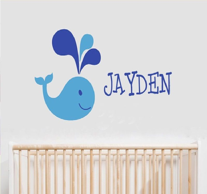 Whale Custom Personalised Name Wall Decal Sticker Nursery Bedroom boys Girls Cute cartoon little whale wall stickers cf11 ...