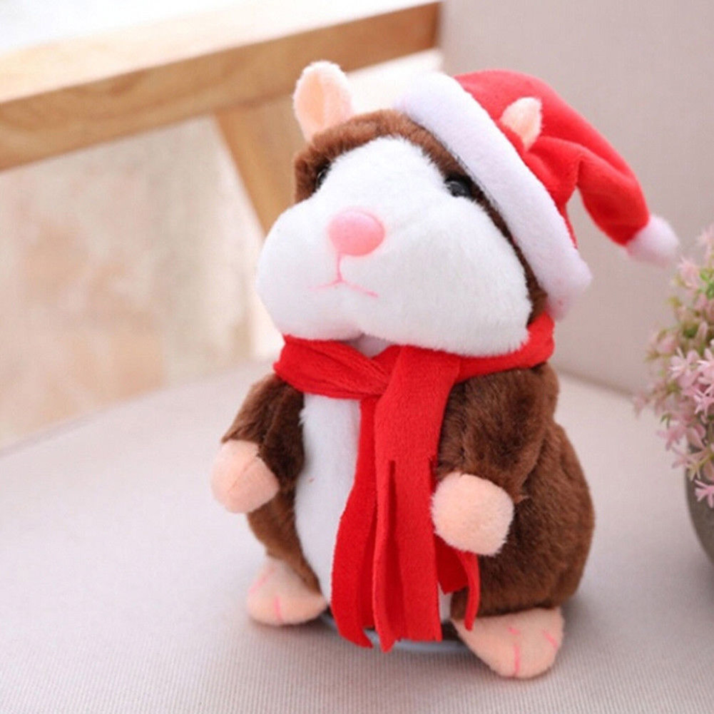 QWOK 2019 Electric Talking Walking Hamster Cheeky Valentine's Day Gift Record Hamster Repeat Stuffed Animals Toys Kids 16cm-18cm