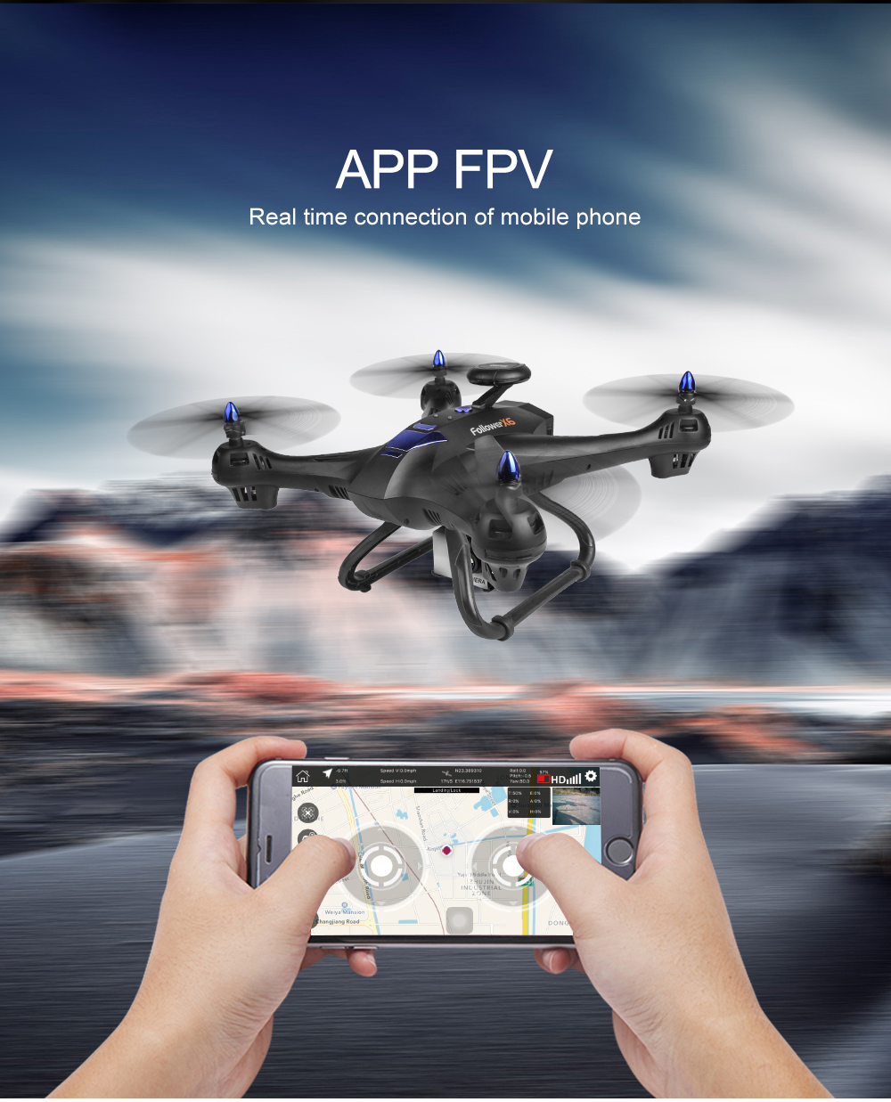 <font><b>GPS</b></font> Quadcopter With Camera HD,<font><b>Follow</b></font> Me <font><b>Drone</b></font>, Professional <font><b>X183</b></font> Dig Dual VS X8PRO image