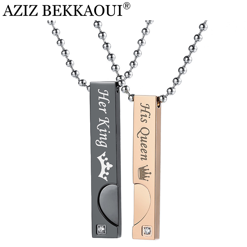 AZIZ BEKKAOUI Couple Necklaces with Box Best Gift Necklace For Lover Stainless Steel Men Female Fashion Jewelry Drop Shipping