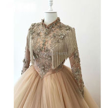 Islamic Arabic Muslim Wedding Dresses Champagne Ball Gown Wedding Dress Long Sleeve With Tassel Beaded Luxury Hijab Bridal Gowns