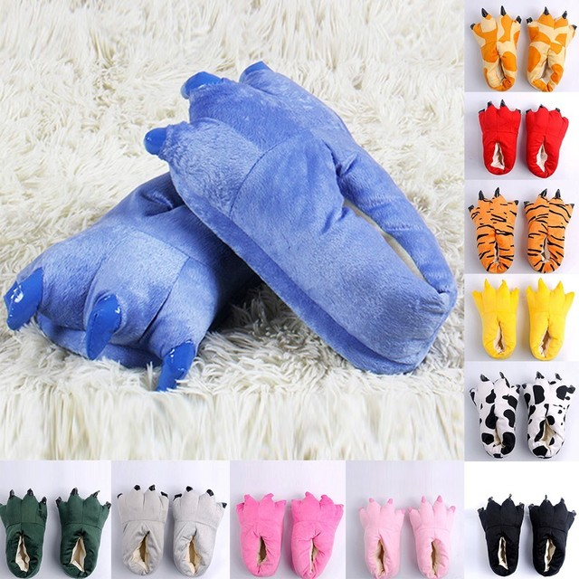 חידוש 2018 נעלי תינוק בנות חורף חמות מקורה מצחיק בעלי החיים Paw מפלצת להחליק על עיצוב טופר נעליים חמה מכירה @ 27