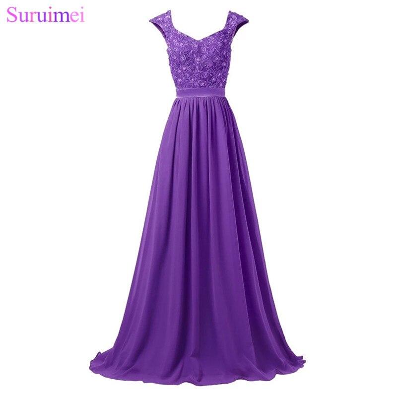 Robes De demoiselle d'honneur longues violet clair longueur De plancher dentelle broderie Applique argent gris bleu Royal robe De mariage événement robe