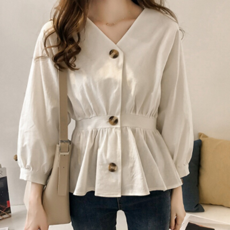 Long Lantern Sleeve Shirt Women Lady Work Elegant Blouses Fashion 2018 Spring Autumn Corset Pleated Button Hem Solid Women Tops