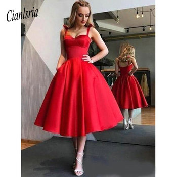 New Design Pretty Red Homecoming Dresses Sweetheart Neck Spaghetti Tea Length Girls Evening Party Dresses Cocktail Dress