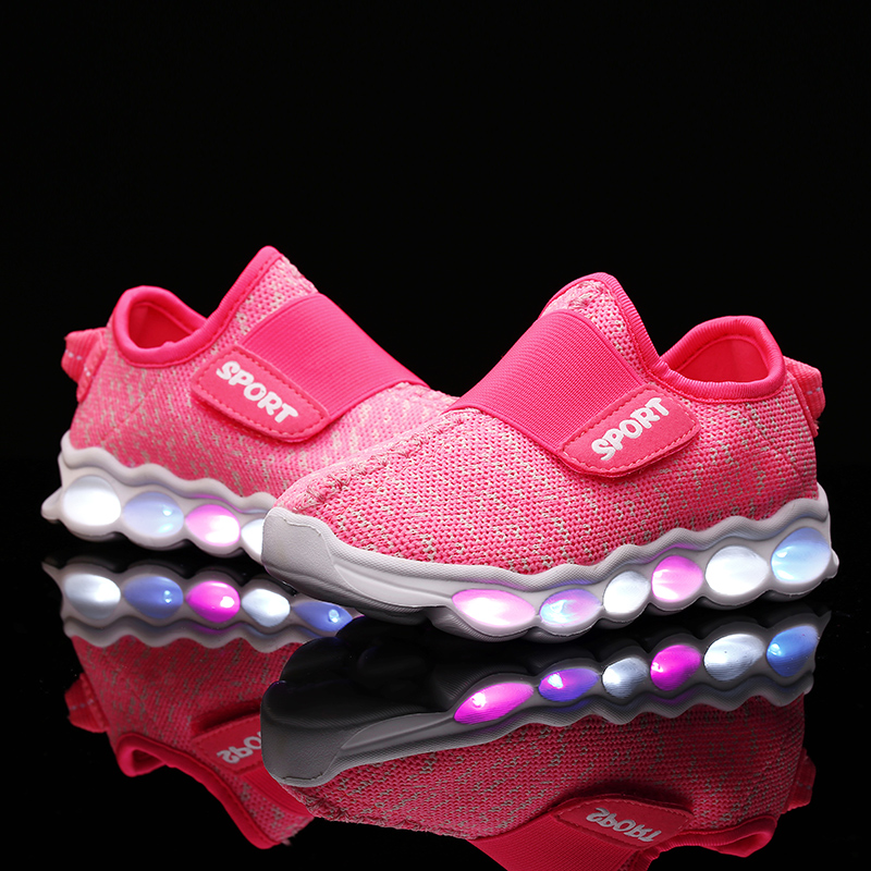 ФОТО 2016 New Summer Kids LED Shoes Mesh Fashion LED Sneakers Children's Breathable Sport Lighted Luminous Boys Girls Shoes 25-37