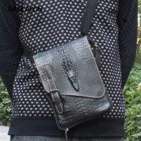 Men Genuine Leather Business Crocodile Grain Genuine Leather Vintage Shoulder Messenger Bag Phone Pocket Wallet